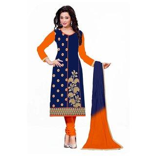 FKART Blue Georgette Embroidered Salwar Suit Material (Unstitched)