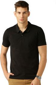 Squarefeet Black Poly Cotton Polo Neck Tshirt