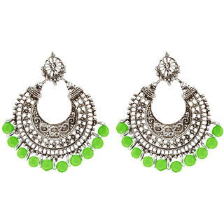 Jewelmaze Rhodium Plated Green Beads Afghani Earrings-1311025f