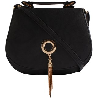 Haqeeba Black Leatherette Material Sling Bags For Women