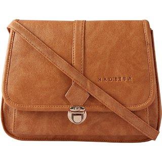 Haqeeba Beige Leatherette Material Sling Bags For Women