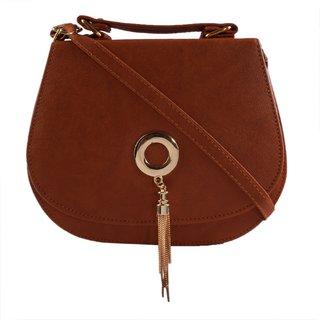 Haqeeba Tan Leatherette Material Sling Bags For Women