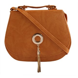 Haqeeba Tan Leatherette Material Sling Bags For Women