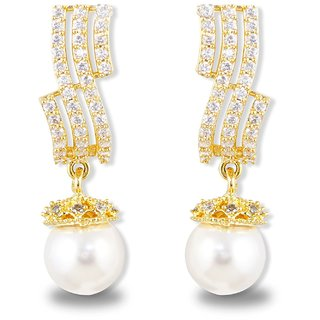 Karatcart American Diamonds Gold Metal Pearl Drop Earrings For Women