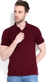 Squarefeet Maroon Cotton Blend Polo Neck Tshirt