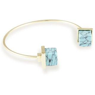 Karatcart Gold Metal Blue Turquoise Bracelet For Women
