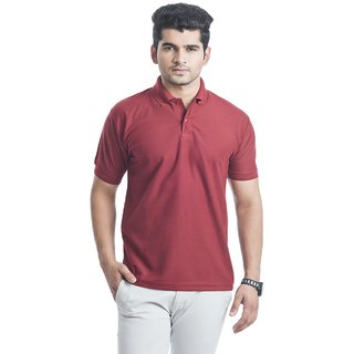 Squarefeet Maroon Poly Cotton Polo Neck Tshirt