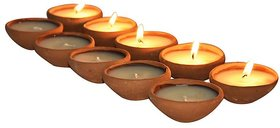 Light Jewels Earthen Clay  Handmade Diwali Oil Lamp Diya For Pooja (Pack of 10)