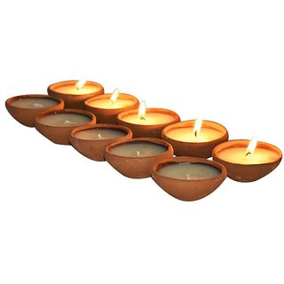 Light Jewels Earthen Clay  Handmade Diwali Oil Lamp Diya For Pooja (Pack of 10)