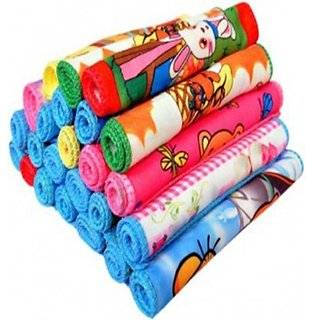 Peponi  Cartoon Design Multi color Cotton Face Towel Set of 12 size (25x25cm)