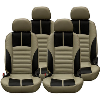 Musicar Mahindra Scorpio Beige Leatherite Car Seat Cover with 1 Year Warranty And Steering cover Free