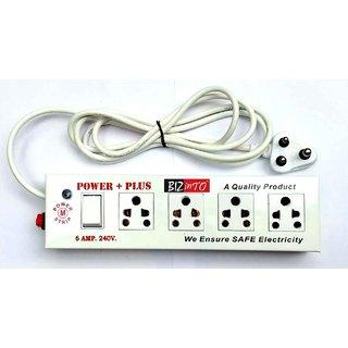 Bizinto Power Plus 4+1 Socket Extension Board in Metal