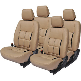 Musicar Maruti Swift Dzire Beige Leatherite Car Seat Cover with 1 Year Warranty And Steering cover Free