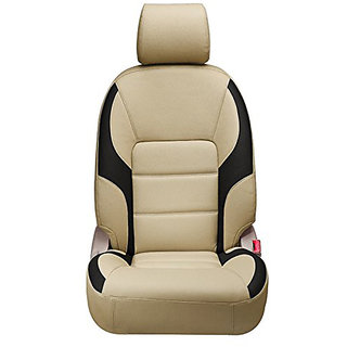 Musicar Honda Amaze Beige Leatherite Car Seat Cover with 1 Year Warranty And Steering cover Free