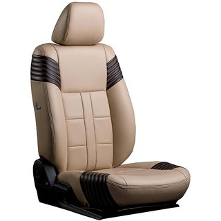 Musicar Maruti Wagon R Beige Leatherite Car Seat Cover with 1 Year Warranty And Steering cover  Free