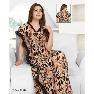 6de0f9cb13 Night Wear for Women Brown Printed Nightie Long Sleep Dress Daily Bed Blue  279A