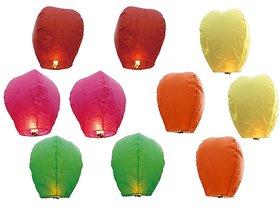 Sky Lanterns - Pack of 10 Diwali Sky Lights Multi Color Gifts