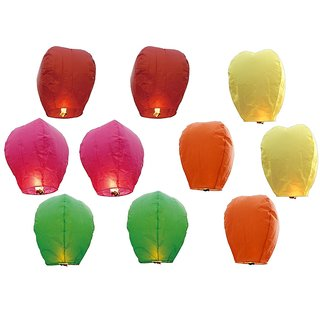 Sky Lanterns - Pack of 10 Diwali Sky Lights Multi Color Gifts