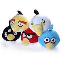 Set Of 5 Angry Bird Mini Soft Toys Cum Wall Hangers