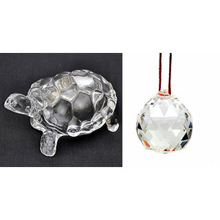 Combo of Crystal Tortoise and Crystal Ball For Long Life, Wealth, Health, Success and Good Luck Vastu  Feng Shui