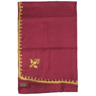 Woolean Warm Maroon Colour Tilla Work Shawl Exactly As Shown In Wholesale Price-Branded Material