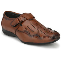 Layasa Men's Tan Velcro Sandals