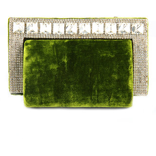 Favola Crystal Border Venvet Hard Shape Box Clutch Bag
