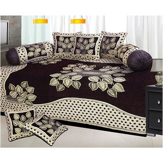 8a08e2c4c Buy The Intellect Bazaar 500 TC Chenille Velvet Diwan Set ( 8 pieces ) -  Black Online - Get 69% Off