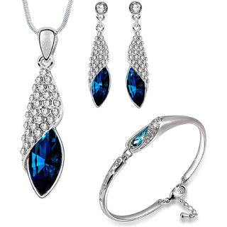 Om Jewells Crystal Jewellery Combo of Exquisite Rhodium Plated Designer Pendant Necklace Set and Bangle Bracelet for Gir