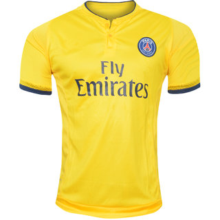 Imported PSG new Yellow Half Sleeve  Jersey