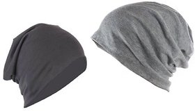 FAS Solid Beanie Cap Combo (Black  Grey)