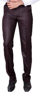VILLAIN Men Maroon Slim Fit Formal Trouser