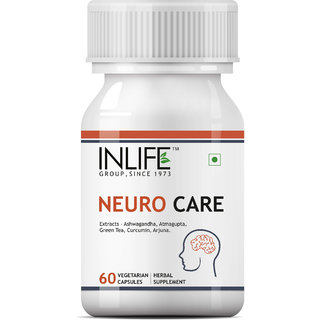 INLIFE Neuro Nerve Care Supplement - Ashwagandha,Green Tea,Curcumin,Arjuna - 60 Vegetarian Capsules