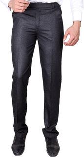 VILLAIN Grey Coloured Slim Fit Formal Pants for men