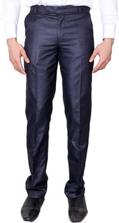 VILLAIN Blue Coloured Slim Fit Formal Pants for men