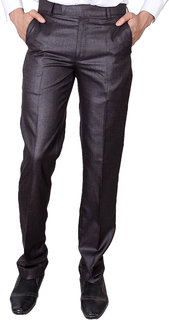 VILLAIN Maroon Coloured Slim Fit Formal Pants for men