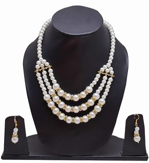RWT Designer Necklace White Color Three layer With Nag For Women