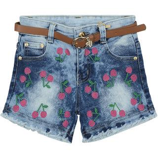 Carrel Blue Denim Fabric Girl's Shorts