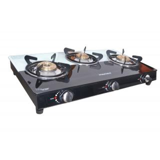 Macizo Glass Top 3 Burner Manual Ignition Gas Stove, Black/White Gas Cooktops at shopclues
