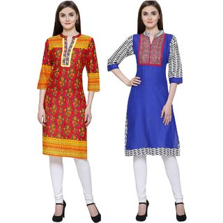 Ethnic cotton kurti combo in blue printed and red embroidered