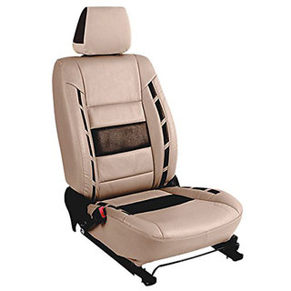 Musicar Honda Mobilio Beige Leatherite Car Seat Cover with 1 Year Warranty And Steering cover  Free