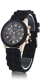 Geneva Round Dial Black Rubber Quartz Watch For Women