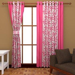 Angel homes Polyester Pink b White Eyelet Window  Door Curtain Set Of 2 P36