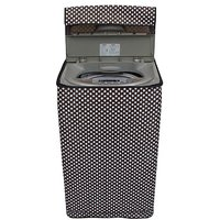 Dream CarePolka White and Black coloured Waterproof & Dustproof Washing Machine Cover For Panasonic NA-F90A1 Aqua Fully Automatic Top Load 9 kg washing machine
