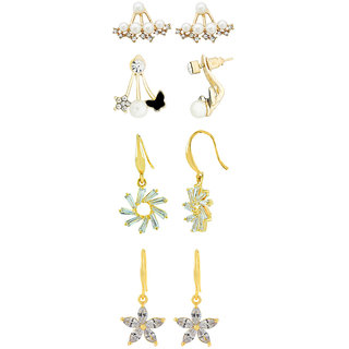 45698bc90 Buy The Jewelbox Flower Studed Crystal American Diamond Pearl 18K Gold  Plated Bass Stud Earrings Combo For Women Online - Get 70% Off