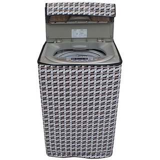 Dream CareAbstract Silver Coloured Waterproof & Dustproof Washing Machine Cover For LG T7508TEDLL Fully Automatic Top Load 6.5 Kg Model