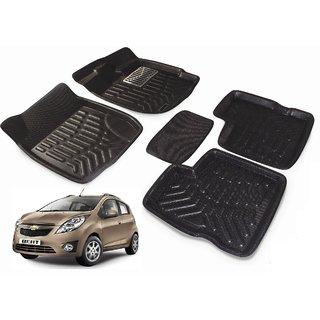 Black 3D Car Foot Mat For Chevrolet Beat