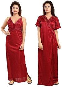Diljeet Women's Satin Plain Nighty - 2 Pc- Nighty with Robe (Maroon)