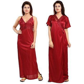 Diljeet Women's Satin Plain Nighty - 2 Pc- Nighty with Robe (Maroon)