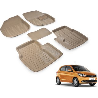 Beige 3D Car Foot Mat set for Tata Tiago